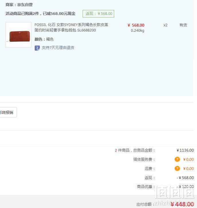 Fossil 化石 SYDNEY系列 女士拉链手拿包长款钱包*2个 ¥448包邮228元/个(双重优惠)