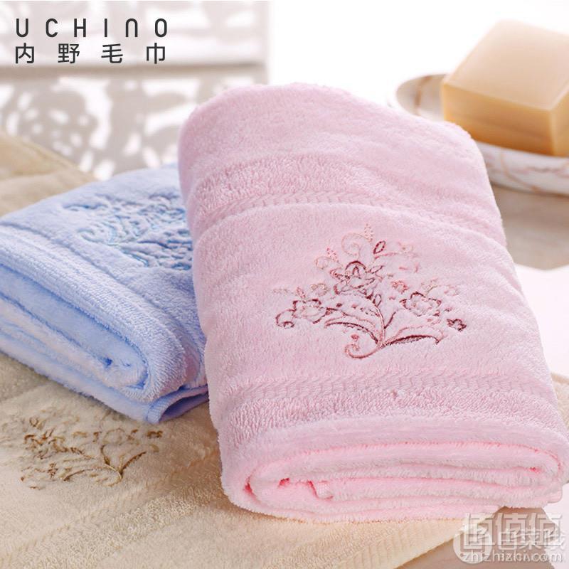Uchino 日本内野 素色纯棉绣花毛巾34*75cm 3条29元包邮(需领券)