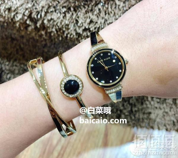 Anne Klein 安妮·克莱恩 AK/3292BKST 施华洛世奇水晶 女士手镯手表套装308.26元