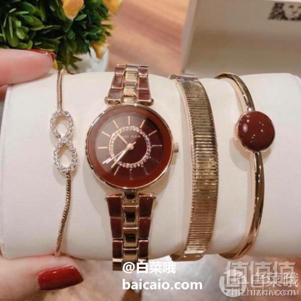 PrimeDay特价,Anne Klein 安妮·克莱恩 AK/3286BYST 施华洛世奇水晶 女士手镯手表套装332.46元