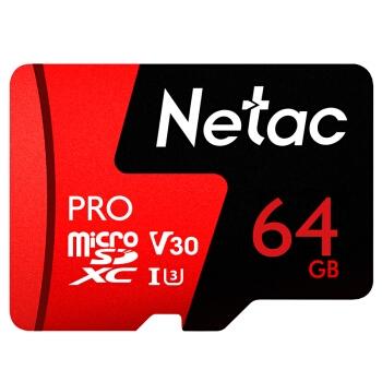 4日0点: Netac 朗科 Pro microSDXC UHS-I A1 U3 TF存储卡 64GB 图1
