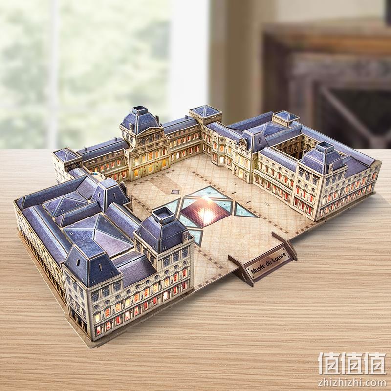CubicFun 乐立方 卢浮宫博物馆LED仿真模型3D立体拼图 108元包邮 值值值-买手聚集的地方