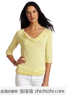 速抢!Calvin Klein 女士时尚中袖大圆领横条纹上衣 美国Amazon$17.23 海淘到手约¥159