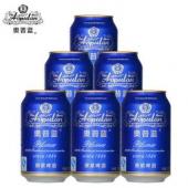 限上海/天津:泸州老窖 奥普蓝 原浆啤酒 320ml*6罐(蓝罐) 六连包