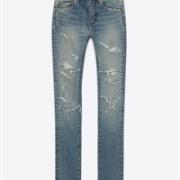 SAINT LAURENT圣罗兰 经典中腰女款破洞紧身牛仔裤