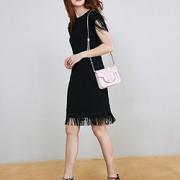 Prime会员!Lily 女式 纯色系简约风修身流苏落肩短款连衣裙 116310C7617510 黑色