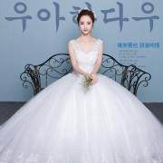 花嫁物语 韩式双肩V领齐地婚纱