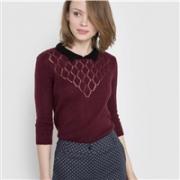 法国Mademoiselle R Polo领女士性感镂空混纺毛衣