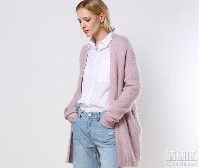 女士马海毛毛衣开衫针织外套