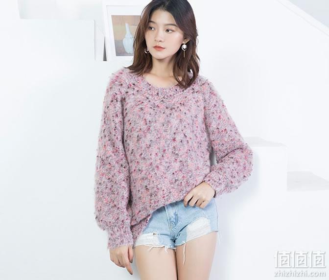 女士圆领可爱甜美马海毛针织衫