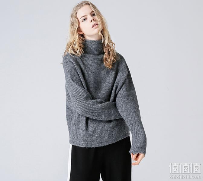 初语女士小高领套头马海毛毛衣