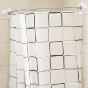 防水防霉# u弧形浴帘杆伸缩免打孔卫生间帐罩1.8*2m