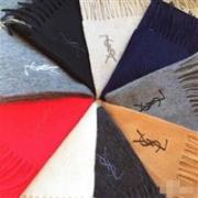 Yves Saint Laurent 意大利产 纯羊毛保暖围巾*2条 多色