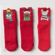 caramella 圣诞袜子儿童珊瑚绒加绒袜子3双装
