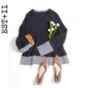 2018春季新款,EST+II 艺诗 春季女款学院风条纹拼接针织衫