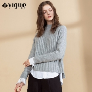 亦谷 YIGUE 女士廓形半高领坑条羊毛针织衫