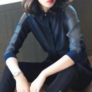 ANYSHION 韩版新品雪纺长袖衬衫女