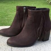 ECCO 爱步SHAPE 55型塑女士真皮高跟流苏短靴