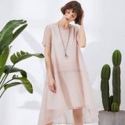 2018春季新款,EST+II 艺诗 女士短袖宽松A字版纯色连衣裙 两色¥179包邮(需用¥50优惠券)