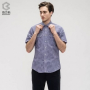 CK制造商,鲁泰佰杰斯 男士棉麻休闲格子短袖衬衫 2色