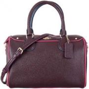 COACH 蔻驰 奢侈品 女士酒红色皮质手提单肩斜挎桶包 F22237 IMFCG