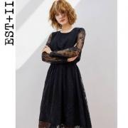 2018春季新款,EST+II 艺诗 女士长袖蕾丝修身连衣裙¥169包邮(需用¥100优惠券)