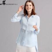 意大利设计团队,GergoFili 女士不规则拼接中长款纯色Polo领衬衫 3色