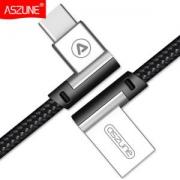 ASZUNE 全铜芯 Type-c 弯头数据线 编织线不易断 2条装