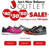 Joe's NB Outlet精选鞋款$30/$40/$50专场促销满$100额外7折