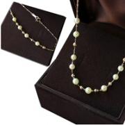 Pearlyuumi Akoya 4-4.5mm稀少天然金色海水珍珠 串小金钻球 18K金项链+手链套装