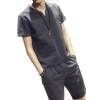经典百搭# 男士棉麻短袖夏季套装休闲纯色两件套29元包邮(49-20券)