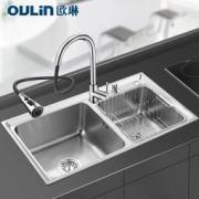 OULIN 欧琳 304不锈钢水槽双槽YD8245套餐(含抽拉龙头 )
