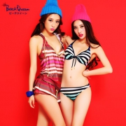 BeachQueen 日本进口 女士钢圈渐变条纹比基尼四件套泳衣 两色
