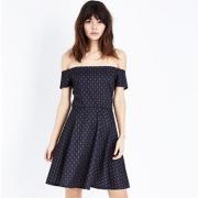 NEW LOOK 2018春新款女式一字领露肩连衣裙