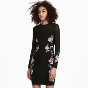 H&M 女装修身碎花显瘦连衣裙2件