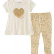 限12M码!Juicy Couture女小童短袖T恤+legging套装