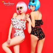 BeachQueen 日本女士樱桃保守连体裙式泳装两件套 两色