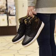Nike 耐克 Air Jordan 1 Retro High OG 男子篮球鞋 黑金色