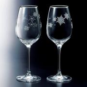 NARUMI  鸣海 高脚玻璃葡萄酒杯 雪花&星星 一对组合