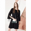Lily 女装黑白撞色线条收腰喇叭袖连衣裙199.5元包邮(双重优惠)