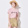 YIGUE 亦谷 女士粉色条纹字母亮片绣花T恤¥146