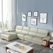 Prime专享,左右 DZY2606-1 现代中式真皮沙发组合 三色新低6494元包邮(下单5折)