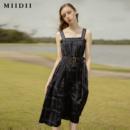 MIIDII 谜底 202ML1095 2020夏季新款文艺系带收腰吊带连衣裙