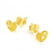 六福珠宝 磨砂心形 足金耳钉 GDG50023 1.78g