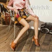 Teenmix 天美意 女士牛皮复古粗高跟单鞋 6U220AM7 2色