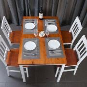 Homestar 好事达 戈菲尓 温琴实木餐桌椅 白色+棕色(1桌+4椅)899元包邮