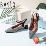 BASTO 百思图 女士羊皮革尖头粗跟凉鞋 RMA08BH8