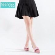 Teenmix 天美意 女士羊绒皮织带蝴蝶结粗跟鞋 AP651CQ7 两色