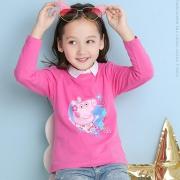 小猪佩奇 女童全棉长袖圆领T恤