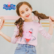 小猪佩奇 女童秋季纯棉印花长袖T恤
